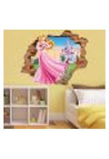 Adesivo De Parede Buraco Falso 3D Princesa Aurora 04 - G 82X100Cm
