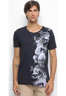 Camiseta Derek Ho Cutout Skull Garden Caveira Masculina - Masculino-Mescla Escuro