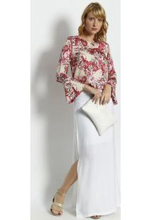 Blusa Floral - Bege & Rosa - Moisellemoisele