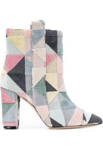 Bams Ankle Boot Com Padronagem Geométrica - Preto