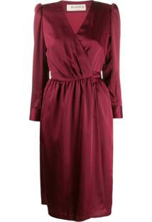 Blanca Vita Vestido Envelope Com Mangas Bufantes - Vermelho