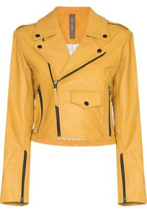 Lot Lthr Isabella Grained-Leather Biker Jacket - Amarelo