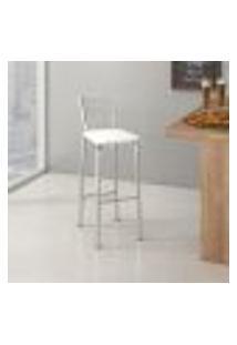 Banqueta Florença B292 Com Encosto Quadriculado Assento Branco