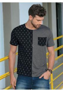 Camiseta Preta E Mescla Com Estampa Foguetes