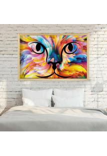 Quadro Love Decor Com Moldura Color Cat Madeira Clara - Médio