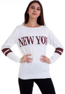 Blusa Linha New York Kinara Feminina - Feminino-Branco