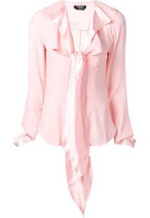 Calvin Klein 205W39Nyc Blusa De Seda Com Laço Ma Gola - Rosa
