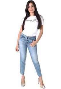 Calça Jeans Skinny Opera Rock Cintura Alta Botoes Feminina - Feminino-Azul