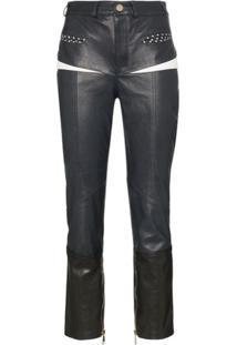 Skiim Manon Front Pocket Slim Leg Leather Trousers - Azul