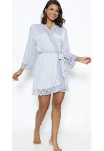 Robe Com Renda Com Lycra®- Azul & Brancofruit De La Passion