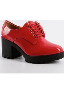 6d22799f1a Marisa. Oxford Tipo Com Salto Vermelho Feminino Vizzano Marca Oxford Oxford  Verniz 1294100 Tratorado