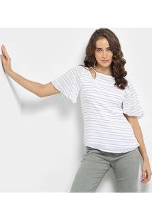 Blusa Maria Filó Listrada Ombros Vazados Decote Costas Feminina - Feminino-Branco