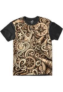 Camiseta Long Beach Náutica Âncora Engrenagem Sublimada Masculina - Masculino-Marrom+Preto