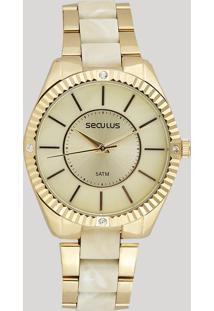 Relógio Analógico Seculus Feminino - 77028Lpsvdf1 Dourado - Único