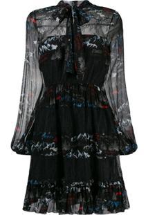 Pinko Vestido Estampado Com Amarração Na Gola - Preto
