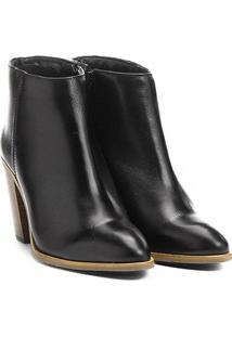 Bota Couro Cano Curto Shoestock Assimétrica Feminino - Feminino-Preto