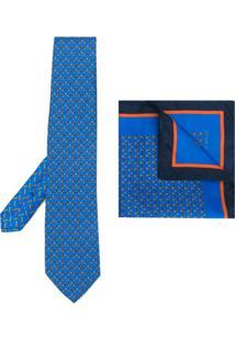 Etro Conjunto Gravata E Lenço Em Seda - Azul