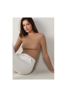 Blusa Tubinho Em Decote Barco Em Lã E Seda - Marrom P