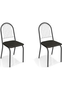Conjunto Com 2 Cadeiras De Cozinha Noruega Preto