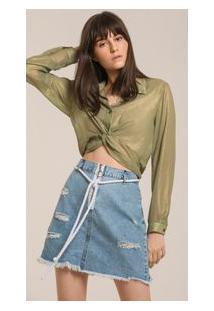 Saia Curta Clochard Detalhe Ziper Jeans