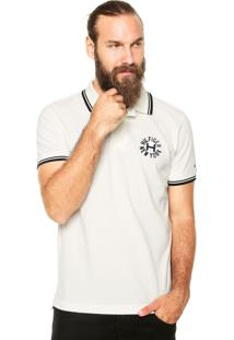 Camisa Polo Tommy Hilfiger Regular Fit Flocado Off-White