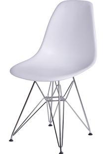 Cadeira Eames Dkr Or-1102 C/ Pés Cromados - Branco