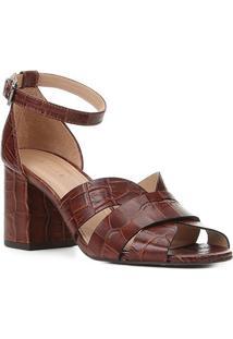 Sandália Couro Shoestock Croco Salto Bloco Médio Feminina - Feminino-Tabaco