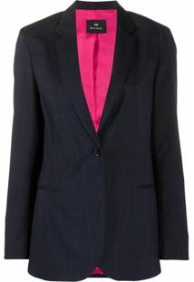 Ps Paul Smith Blazer De Alfaiataria Xadrez - Azul