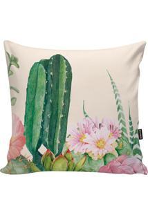 Capa Para Almofada Garden- Bege Claro & Verde- 45X45Stm Home