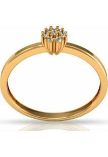 Anel La Madame Co Ouro 18K Solitário Com Brilhantes Dourado