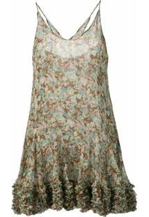 Stella Mccartney Vestido De Seda Floral - Verde
