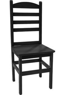 Cadeira Pop Fixa Em Madeira Maciça Verniz - Preto