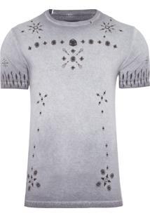 Camiseta Masculina Fitted Pedraria - Cinza