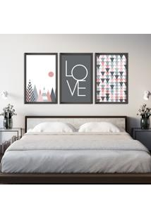 Quadro Oppen House 60X120Cm Abstrato Escandinavo Coloridos Geométrico Triangulos Moldura Preta Sem Vidro Mod: Oh5701