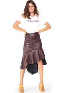 Saia Midi Assimétrica Leather