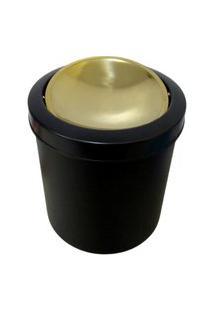 Lixeira Dourada E Preta 5L Basculante - By Fineza