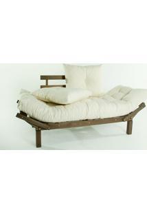 Sofá Cama Madeira Futon Country Comfort Acab. Stain Nogueira Com Almofada/Colchao Tecido T01 Acquablock - 190X80X83 Cm