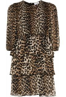 Ganni Vestido Georgette Com Estampa De Leopardo - Marrom