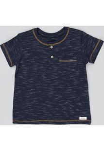 Camiseta Infantil Flamê Com Bolso Manga Curta Azul Marinho
