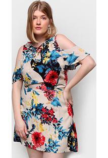 Vestido Eagle Rock Plus Size Curto Floral - Feminino-Estampado