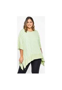 Blusa Almaria Plus Size Garage Listrada Fenda Lateral Verde