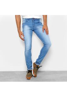 Calça Jeans Skinny Coffee Estonada Cintura Média Delave Masculina - Masculino