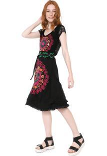 Vestido Desigual Midi Carla Preto - Preto - Feminino - Viscose - Dafiti