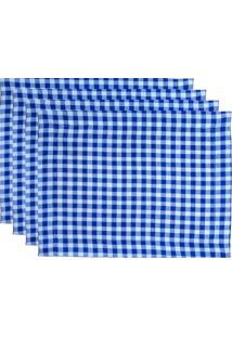 Kit 4Pçs Jogo Americano Novitá Decor Vichy Azul