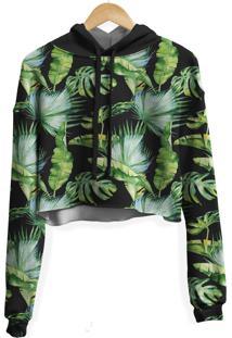 Blusa Cropped Moletom Feminina Over Fame Folhas Tropicais - Preto - Feminino - Poliã©Ster - Dafiti