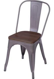 Cadeira Iron Com Assento Em Madeira Cor Bronze - 59147 - Sun House