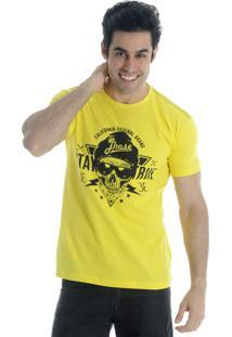Camiseta Drope Jhose Eletric Skull Amarela