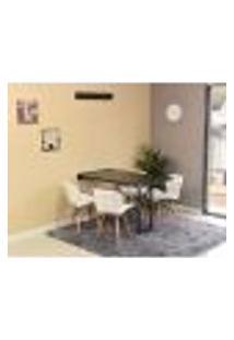 Conjunto De Mesa Dobrável Retrátil 120 X 75 Preta + 4 Cadeiras Slim - Branca