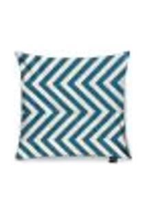 Capa Para Almofada Tecido Estampado Zig Zag Azul Turquesa D90 - D'Rossi