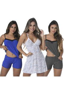 Kit Com 2 Baby Doll Thais + 1 Camisola Sexy Love
